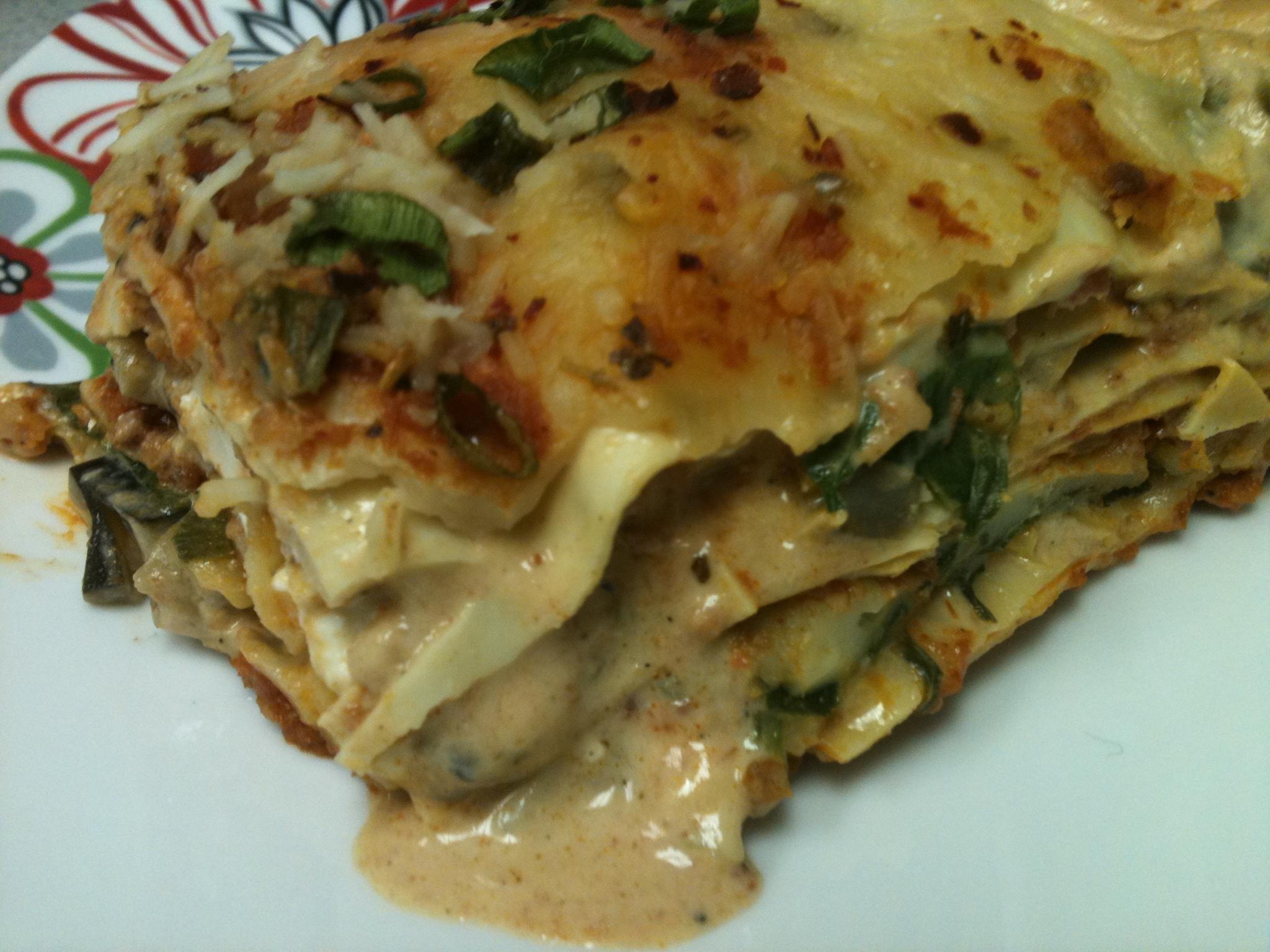 chorizo lasagna with eggplant mushroom and spinach